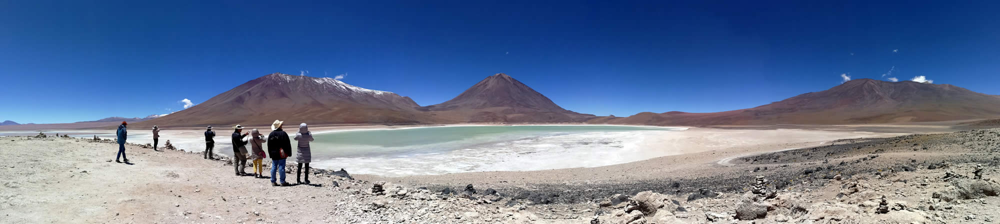 The Green Lagoon or Laguna Verde and the Licancabur Volcano
