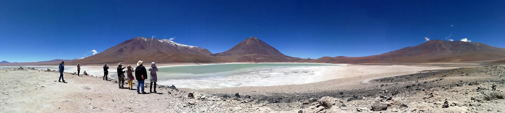 The Green Lagoon or Laguna Verde and the Licancabur Volcano