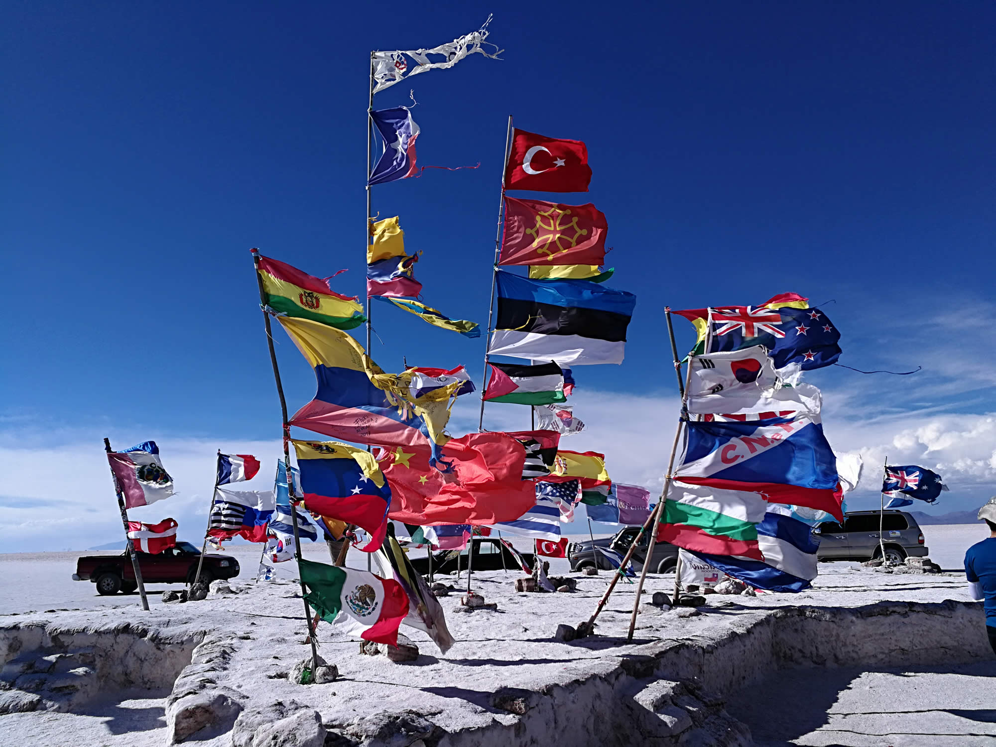 Flags in the Salar de Uyuni.