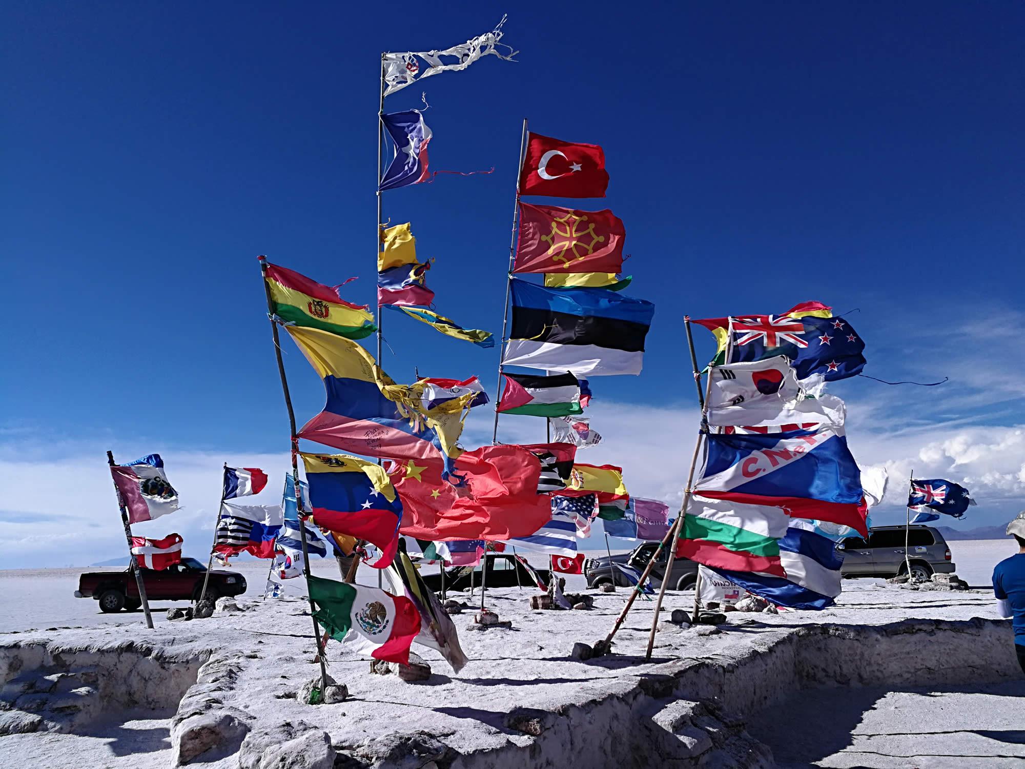 Flags in the Salar de Uyuni.