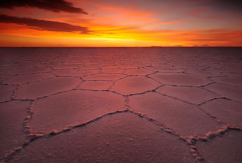 Sunset in the Salar de Uyuni