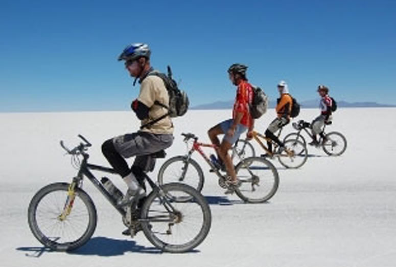 Biking on Uyuni Salt Flat